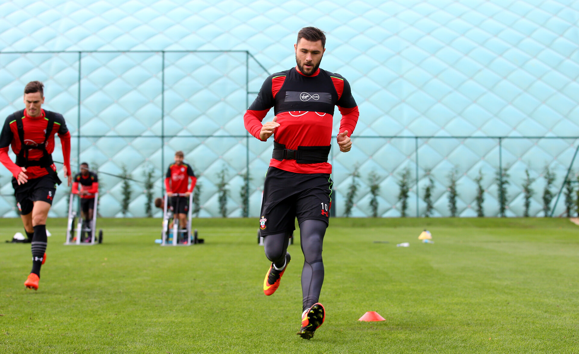 Charlie Austin during a Southampton FC training session at the Staplewood Campus, Southampton, 9th October 2016