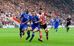 Cesar Azpilicueta(left) and Charlie Austin during the Premier League match between Southampton and Chelsea at St Mary's Stadium, Southampton, England on 30 October 2016. Photo by Matt Watson/SFC/Digital South.