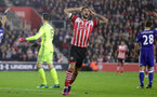 Charlie Austin (Southampton) scores but it is disallowed for offside during the Premier League match between Southampton and Chelsea at St Mary's Stadium, Southampton, England on 30 October 2016. Photo by Michael Jones/Digital South