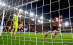 Charlie Austin wheels away after scoring during the Premier League match between Southampton and Everton at St Mary's Stadium, Southampton, England on 27 November 2016. Photo by Matt  Watson/SFC/Digital South.