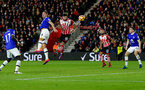 Charlie Austin heads at goal during the Premier League match between Southampton and Everton at St Mary's Stadium, Southampton, England on 27 November 2016. Photo by Matt  Watson/SFC/Digital South.