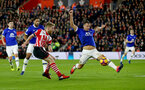 Josh Sims(left) and Phil Jagielka during the Premier League match between Southampton and Everton at St Mary's Stadium, Southampton, England on 27 November 2016. Photo by Matt  Watson/SFC/Digital South.