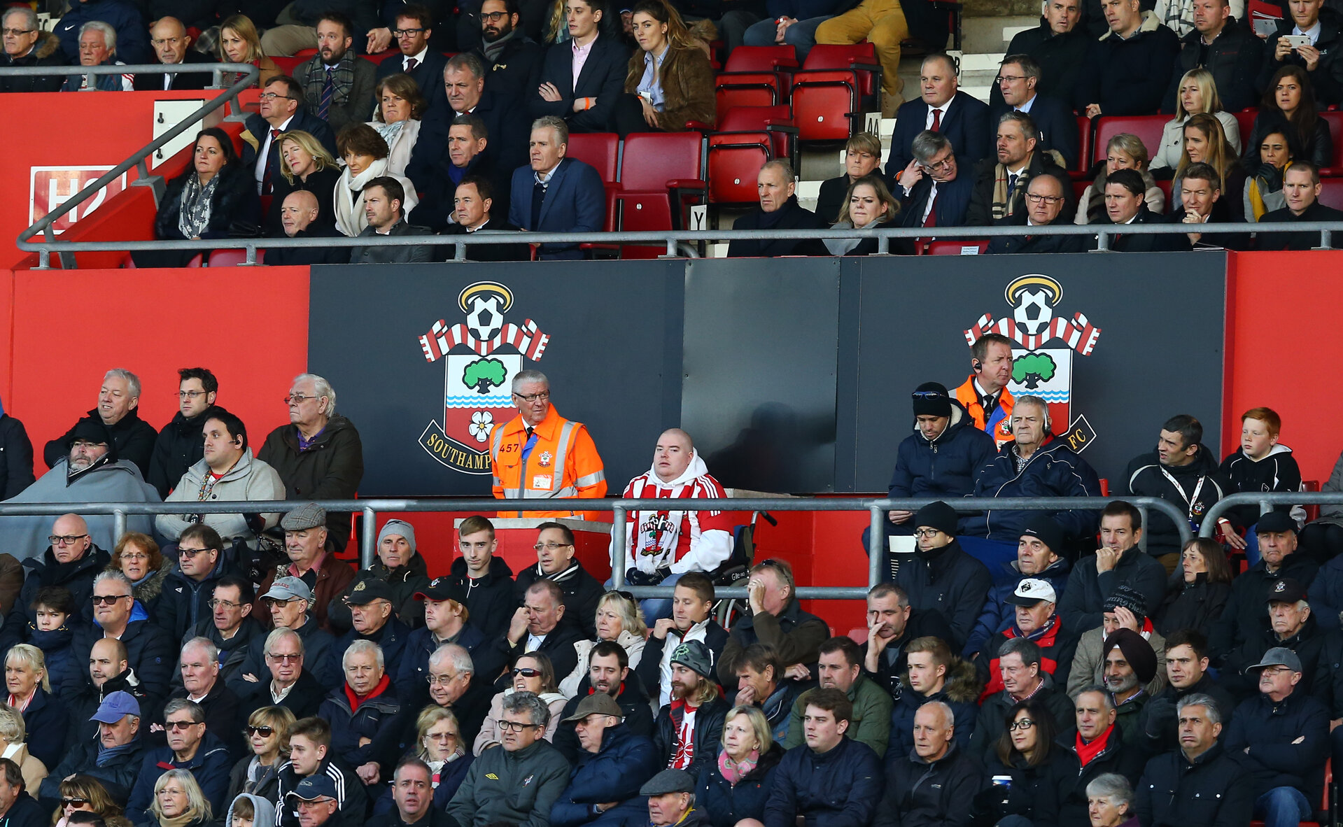 Stewards during the Premier League match between Southampton and Middlesbrough at St Mary's Stadium, Southampton, England on 11 December 2016. Photo by Matt Watson/SFC/Digital South.