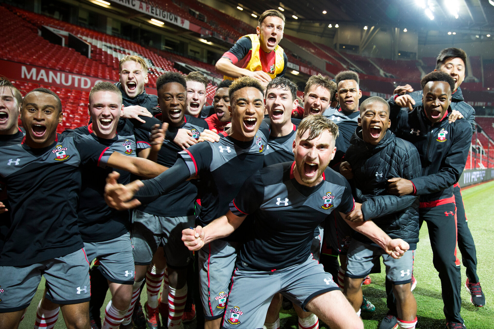 team celebrate during Southampton FC U18 v Manchester United U18 in the FA youth cup, at Old Trafford, Manchester, 12th December 2016, pic by Naomi Baker/Southampton FC