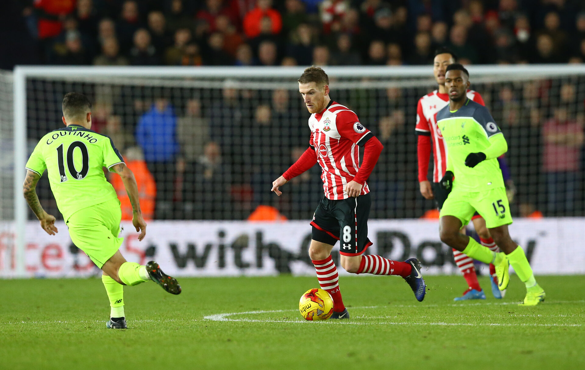 Steven Davis during the EFL Cup match between Southampton and Liverpool at St Mary's Stadium, Southampton, England on 11 January 2017. Photo by Matt  Watson/SFC/Digital South.