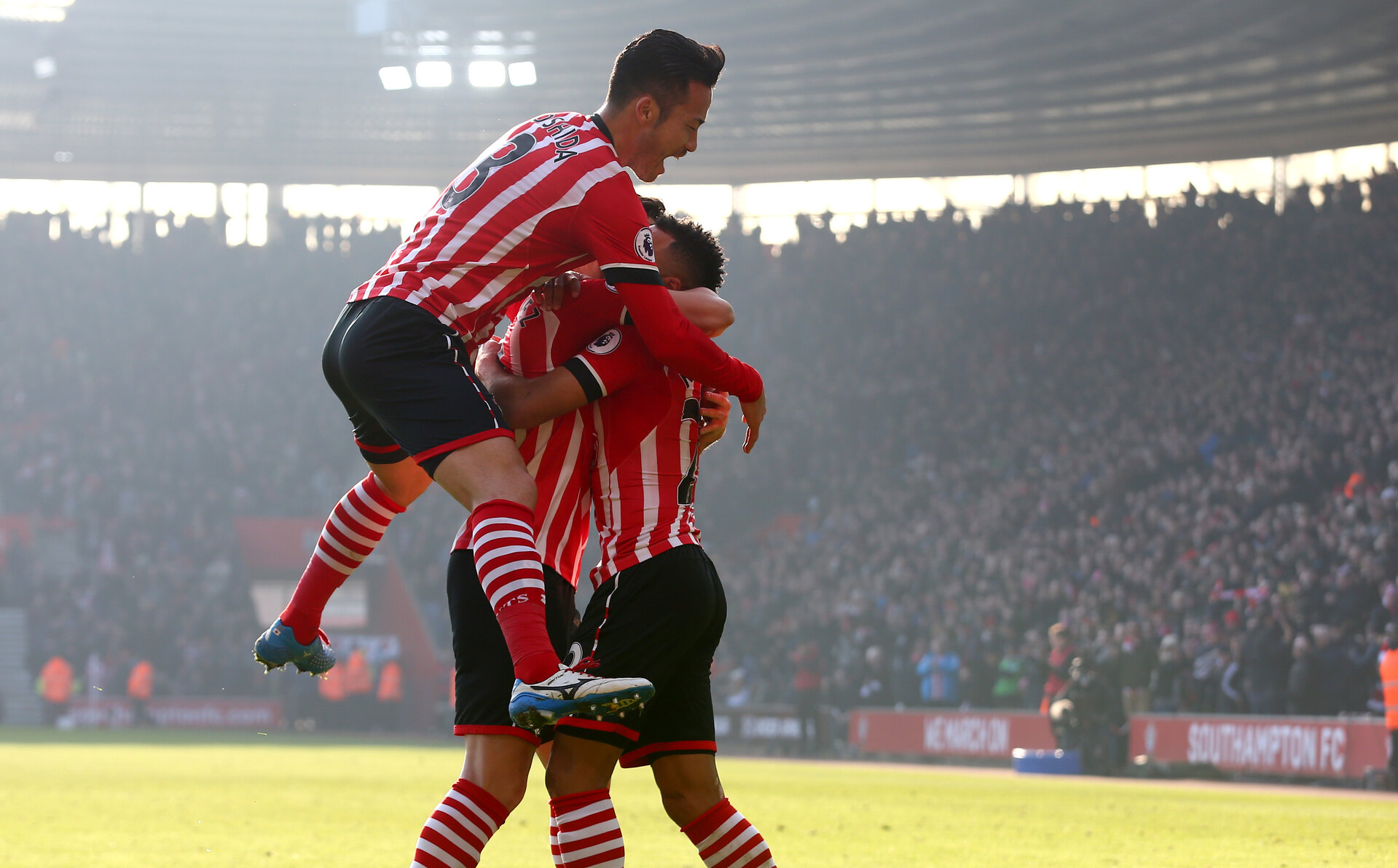 Jay Rodriguez celebrates his goal with Maya Yoshida  during the Premier League match between Southampton and Leicester City at St Mary's Stadium, Southampton, England on 21 January 2017. Photo by Naomi Baker/SFC/Digital South.