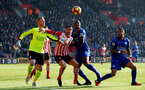 Dusan Tadic looks to beat the Leicester defence during the Premier League match between Southampton and Leicester City at St Mary's Stadium, Southampton, England on 21 January 2017. Photo by Naomi Baker/SFC/Digital South.