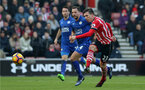Pierre-Emile Hojbjerg (Southampton) takes a shot during the Premier League match between Southampton and Leicester City at St Mary's Stadium, Southampton, England on 22 January 2017.