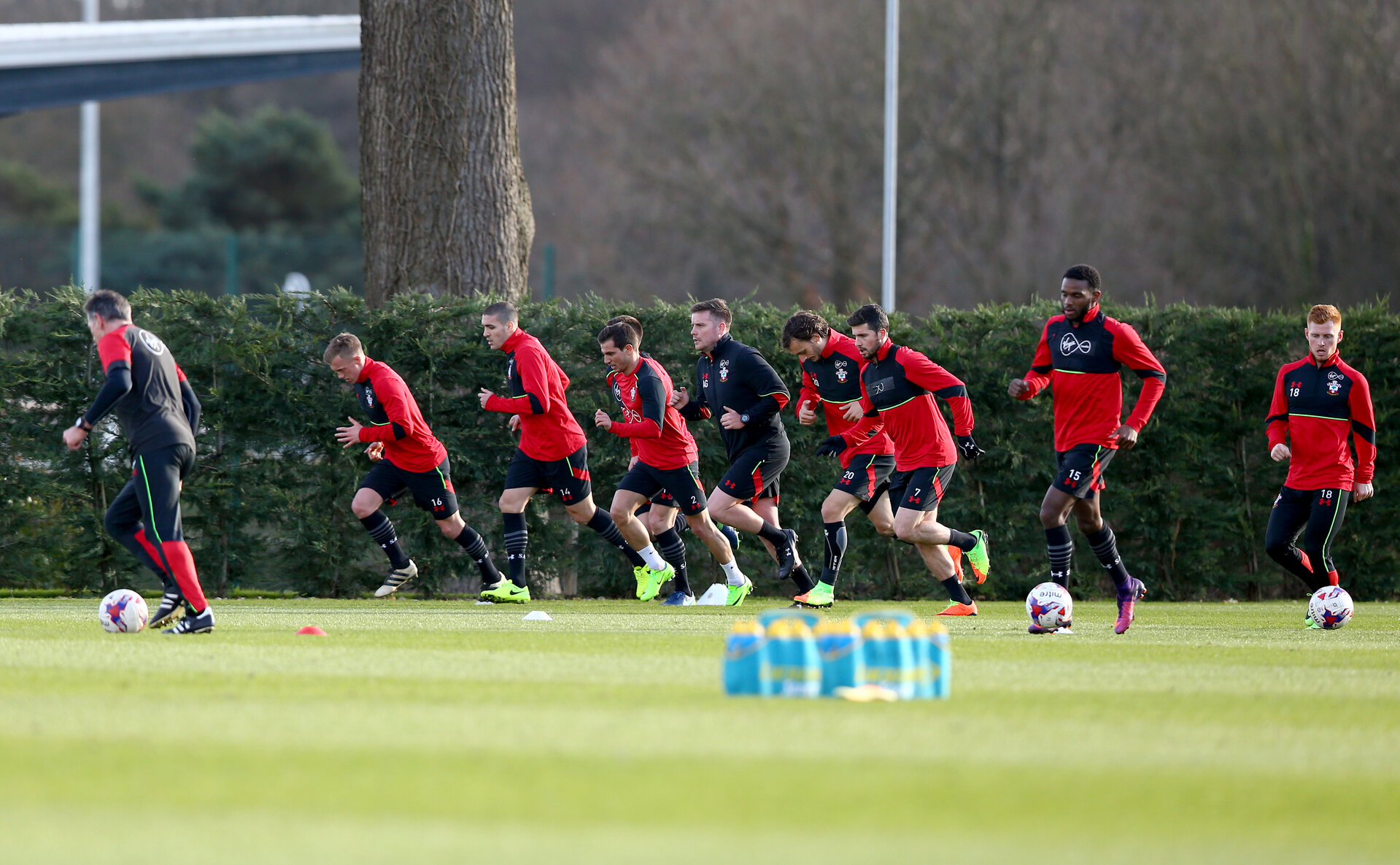 Players take part in a fitness drill during a Southampton FC training session at the Staplewood Campus, Southampton, 16th February 2017