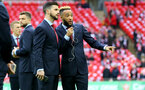 Shane Long(left) and Nathan Redmond during the EFL Cup Final match between Manchester United and Southampton at Wembley Stadium, London, England on 26 February 2017. Photo by Matt Watson/SFC/Digital South.