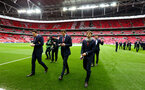 Players inspect the pitch during the EFL Cup Final match between Manchester United and Southampton at Wembley Stadium, London, England on 26 February 2017. Photo by Matt Watson/SFC/Digital South.