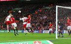 Oriol Romeu's header hits the post during the EFL Cup Final match between Manchester United and Southampton at Wembley Stadium, London, England on 26 February 2017. Photo by Matt Watson/SFC/Digital South.