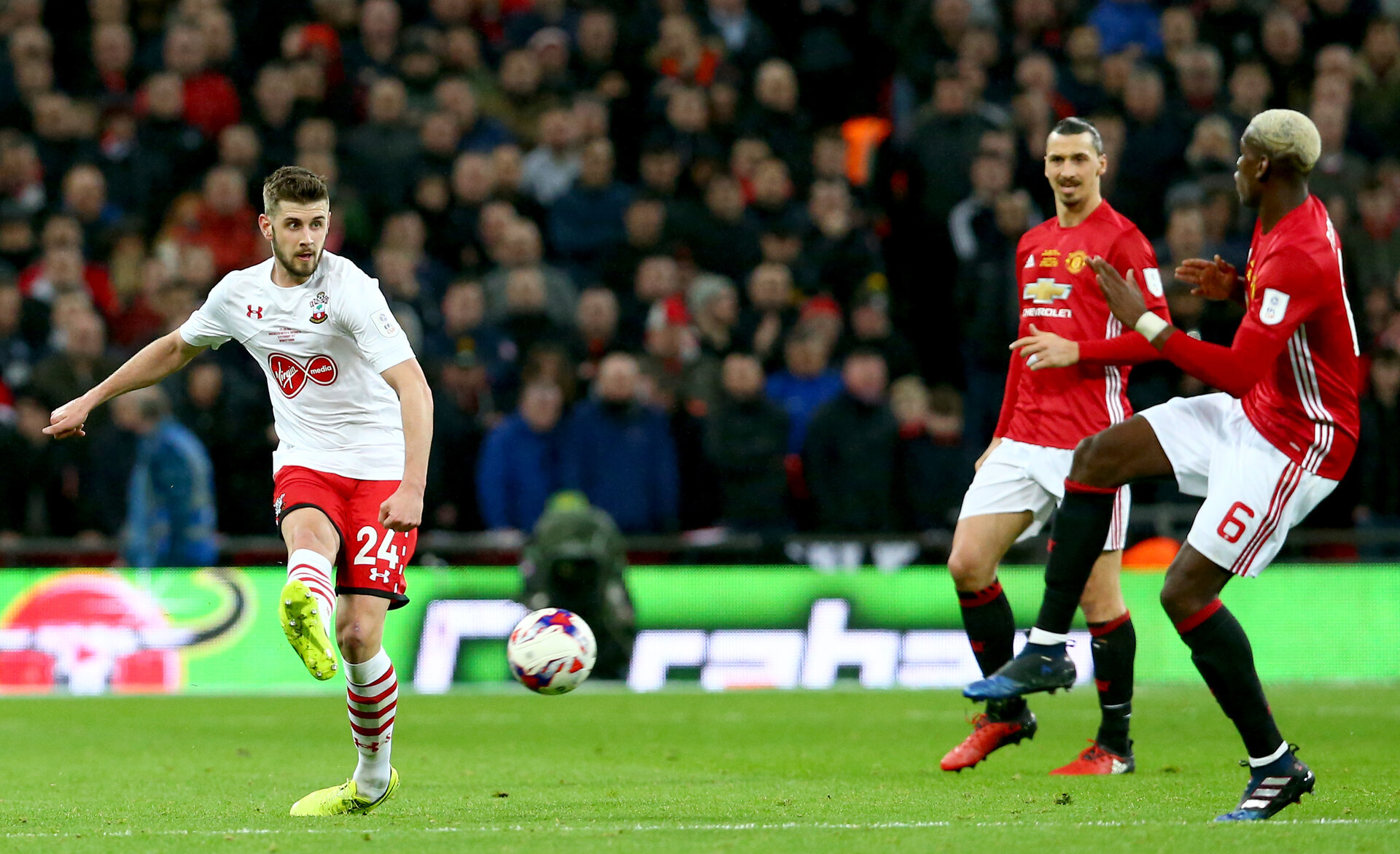 Jack Stephens during the EFL Cup Final match between Manchester United and Southampton at Wembley Stadium, London, England on 26 February 2017. Photo by Matt Watson/SFC/Digital South.