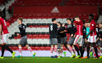 alfie jones celebrates with team after scoring during Southampton FC U23 v Manchester United U23, at Old Trafford, Manchester, 13th March 2017, pic by Naomi Baker/Southampton FC