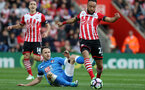 Marc Pugh (Bournemouth) and Nathan Redmond (Southampton) battle for the ball during the Premier League match between Southampton and Bournemouth at St Mary's Stadium, Southampton, England on 1 April 2017.