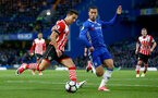 Cedric(left) and Eden Hazard during the Premier League match between Chelsea and Southampton at Stamford Bridge, London. Photo by Matt Watson/SFC/Digital South.