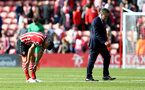 Dusan Tadic(left) and Claude Puel dejected during the Premier League match between Southampton and Hull City at St Mary's Stadium, Southampton, England on 29 April 2017. Photo by Matt Watson/SFC/Digital South.