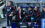 HULL, ENGLAND - MAY 9: Liverpool manager Rafael Benitez remonstrates from the bench inbetween Mauricio Pellegrino and Sammy Lee (r) during the Barclays Premier League match between Hull City and Liverpool at the KC Stadium on May 9, 2010 in Hull, England. (Photo by Jed Leicester/Getty Images)
