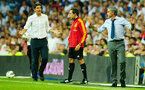 MADRID, SPAIN - AUGUST 19: head coach Jose Mourinho (R) of Real Madrid argues with head coach Mauricio Pellegrino of Valencia during the La Liga match between Real madrid and Valencia at Estadio Santiago Bernabeu on August 19, 2012 in Madrid, Spain.  (Photo by Gonzalo Arroyo Moreno/Getty Images)