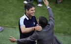 Deportivo Alaves' Argentinian coach Mauricio Pellegrino (L) is embraced by Barcelona's coach Luis Enrique before the Spanish Copa del Rey (King's Cup) final football match FC Barcelona vs Deportivo Alaves at the Vicente Calderon stadium in Madrid on May 27, 2017. / AFP PHOTO / JAVIER SORIANO        (Photo credit should read JAVIER SORIANO/AFP/Getty Images)