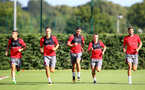 Players warm up during a Southampton FC pre season training session at the Staplewood Campus, Southampton, 31st July 2017
