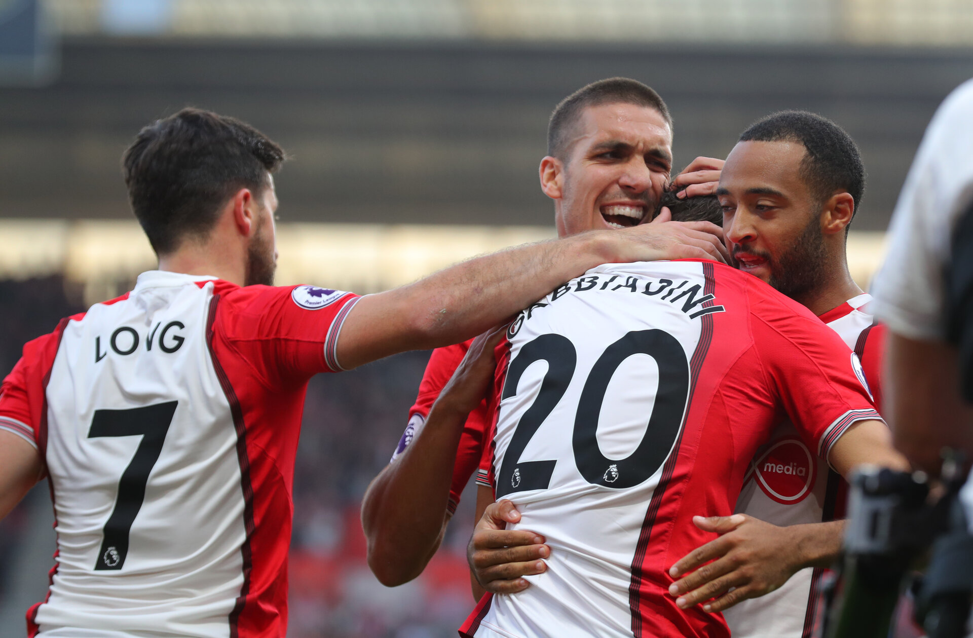 SOUTHAMPTON, ENGLAND - OCTOBER 15: L to R, Shane Long, Oriol Romeu, Manolo Gabbiadini and Nathan Redmond during the Premier League match between Southampton and Newcastle United at St Mary's Stadium on October 15, 2017 in Southampton, England. (Photo by Matt Watson/Southampton FC via Getty Images)