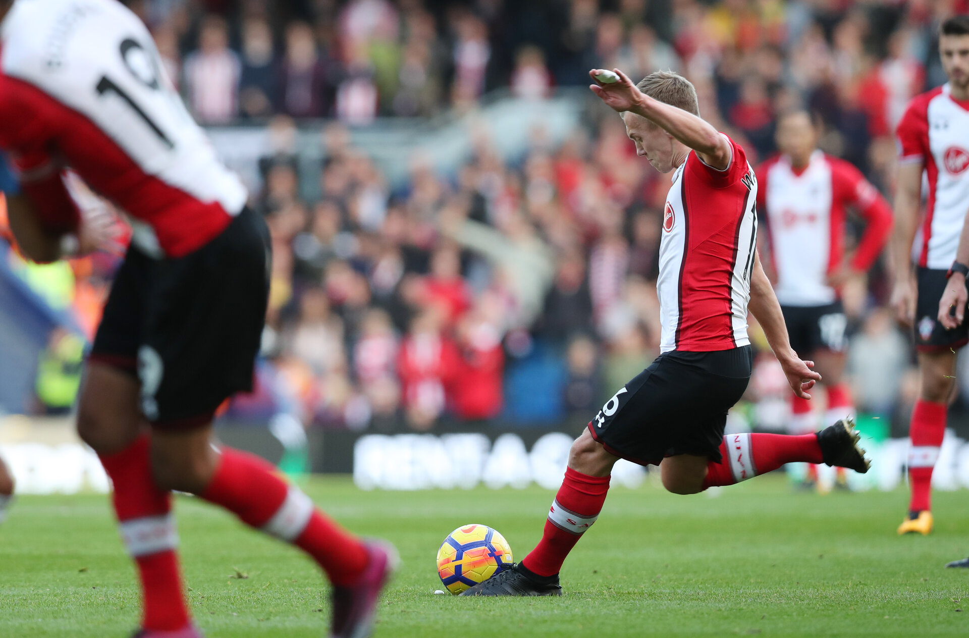 BRIGHTON, ENGLAND - OCTOBER 29: Southampton's James Ward-Prowse shoots from a free-kick which leads to Steven Davis' goal during the Premier League match between Brighton and Hove Albion and Southampton at the Amex Stadium on October 28, 2017 in Brighton, England. (Photo by Matt Watson/Southampton FC via Getty Images)