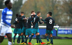 SOUTHAMPTON, ENGLAND - NOVEMBER 18: Southampton FC celebrate (middle) during the U18s Premier League South  between Southampton FC & Reading FC match on November 18, 2017 in Southampton, England. (Photo by James Bridle - Southampton FC/Southampton FC via Getty Images)