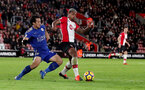 SOUTHAMPTON, ENGLAND - DECEMBER 13: Southampton's Mario Lemina(R) during the Premier League match between Southampton and Leicester City at St Mary's Stadium on December 13, 2017 in Southampton, England. (Photo by Matt Watson/Southampton FC via Getty Images)