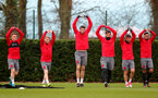 SOUTHAMPTON, ENGLAND - DECEMBER 20: L to R, Jake Hesketh, Josh Sims, Wesley Hoedt, Manolo Gabbiadini, Jeremy Pied and Sofiane Boufal during a Southampton FC training session at Staplewood Complex on December 20, 2017 in Southampton, England. (Photo by Matt Watson/Southampton FC via Getty Images)