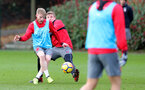 SOUTHAMPTON, ENGLAND - DECEMBER 20: Josh Sims(L) and Matt Targett during a Southampton FC training session at Staplewood Complex on December 20, 2017 in Southampton, England. (Photo by Matt Watson/Southampton FC via Getty Images)