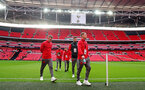 LONDON, ENGLAND - DECEMBER 26: Southampton players ahead of the Premier League match between Tottenham Hotspur and Southampton at Wembley Stadium on December 26, 2017 in London, England. (Photo by Matt Watson/Southampton FC via Getty Images)