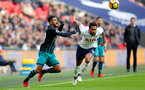 LONDON, ENGLAND - DECEMBER 26: Southampton's Sofiane Boufal(L) and Mousa Dembele during the Premier League match between Tottenham Hotspur and Southampton at Wembley Stadium on December 26, 2017 in London, England. (Photo by Matt Watson/Southampton FC via Getty Images)