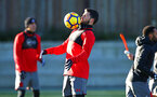 SOUTHAMPTON, ENGLAND - DECEMBER 28: Shane Long (middle) during a Southampton FC training session at Staplewood Complex on December 28, 2017 in Southampton, England. (Photo by James Bridle - Southampton FC/Southampton FC via Getty Images)