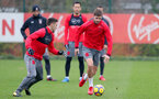 SOUTHAMPTON, ENGLAND - JANUARY 09: Dusan Tadic(L) and Jack Stephens(R) of Southampton FC during a training session at the Staplewood Campus on January 9, 2018 in Southampton, England. (Photo by Matt Watson/Southampton FC via Getty Images)