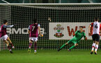 Jack Rose(GK)of Southampton is sent the wrong way as Harry McKirdy scores from the penalty spot during the U23 Premier League 2 match between Southampton and Aston Villa, 15th January 2018, pic by James Bridle