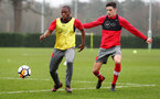SOUTHAMPTON, ENGLAND - JANUARY 23: Michael Obafemi (left) Alfie Jones (right) during an Southampton FC Training session on January 23, 2018 in London, England. (Photo by James Bridle - Southampton FC/Southampton FC via Getty Images)