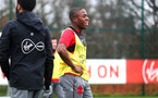 SOUTHAMPTON, ENGLAND - JANUARY 23: Michael Obafemi during an Southampton FC Training session on January 23, 2018 in London, England. (Photo by James Bridle - Southampton FC/Southampton FC via Getty Images)