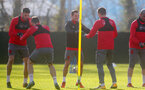 SOUTHAMPTON, ENGLAND - JANUARY 30: Wesley Hoedt(L) and Cedric(centre) of Southampton FC during a training session at the Staplewood Campus on January 30, 2018 in Southampton, England. (Photo by Matt Watson/Southampton FC via Getty Images)