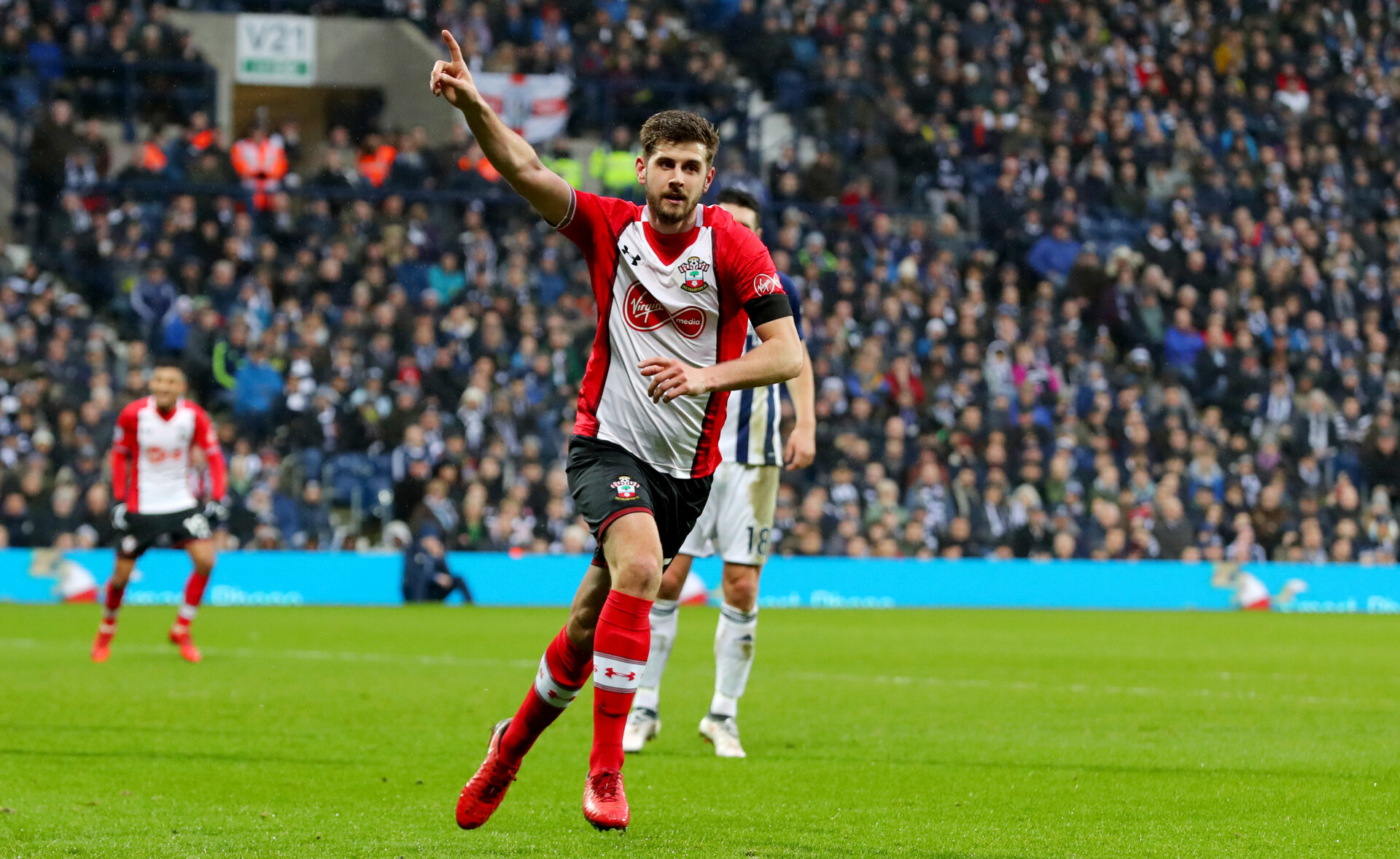 WEST BROMWICH, ENGLAND - FEBRUARY 03: Jack Stephens of Southampton FC celebrates during the Premier League match between West Bromwich Albion and Southampton at The Hawthorns on February 3, 2018 in West Bromwich, England. (Photo by Matt Watson/Getty Images)