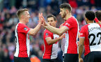 WEST BROMWICH, ENGLAND - FEBRUARY 17: Wesley Hoedt(R) of Southampton celebrates with James Ward-Prowse(L) after opening the scoring during the Emirates FA Cup fifth round match between West Bromwich Albion and Southampton at The Hawthorns on February 17, 2018 in West Bromwich, England. (Photo by Matt Watson/Southampton FC via Getty Images)