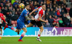 SOUTHAMPTON, ENGLAND - MARCH 03: Guido Carrillo(R) of Southampton during the Premier League match between Southampton and Stoke City at St Mary's Stadium on March 3, 2018 in Southampton, England. (Photo by Matt Watson/Southampton FC via Getty Images)