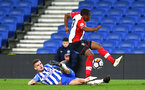 SOUTHAMPTON, ENGLAND - MARCH 05: Michael Obafemi (right) during the PL2 U23's match between Brighton & Hove Albion FC and Southampton FC at American Express Community Stadium on March 5, 2018 in Southampton, England. (Photo by James Bridle - Southampton FC/Southampton FC via Getty Images)