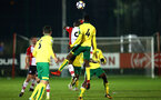 SOUTHAMPTON, ENGLAND - MARCH 12: Michael Obafemi header (back) during the PL2 match between Southampton FC and Norwich City FC at Staplewood Training Ground on March 12, 2018 in Southampton, England. (Photo by James Bridle - Southampton FC/Southampton FC via Getty Images)