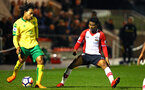 SOUTHAMPTON, ENGLAND - MARCH 12: Nathan Tella (right) during the PL2 match between Southampton FC and Norwich City FC at Staplewood Training Ground on March 12, 2018 in Southampton, England. (Photo by James Bridle - Southampton FC/Southampton FC via Getty Images)