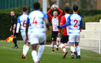 SOUTHAMPTON, ENGLAND - MARCH 17: Cameron Ledwidge (middle) during the U18's match between Southampton FC and Reading FC at Staplewood Complex on March 16, 2018 in Southampton, England. (Photo by James Bridle - Southampton FC/Southampton FC via Getty Images)