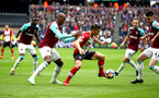 LONDON, ENGLAND - MARCH 31: Dusan Tadic (middle) during the Premier League match between West Ham United and Southampton at London Stadium on March 31, 2018 in London, England. (Photo by James Bridle - Southampton FC/Southampton FC via Getty Images)