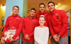 Southampton FC players and staff visit Southampton General Hospital, 3rd April 2018, L to R, Steven Davis, Jeremy Pied, Jan Bednarek and Alex McCarthy