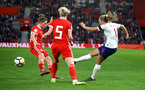 SOUTHAMPTON, ENGLAND - APRIL 06: Toni Duggan (right) during the Women's World Cup Qualifier match between England and Wales match at St Mary's Stadium on April 6, 2018 in Southampton, England. (Photo by James Bridle - Southampton FC/Southampton FC via Getty Images)
