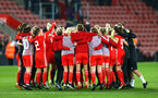 SOUTHAMPTON, ENGLAND - APRIL 06: Wales celebrate after the final whistle is blown during the England Lionesses vs Wales Womens match at St Mary's Stadium on April 6, 2018 in Southampton, England. (Photo by James Bridle - Southampton FC/Southampton FC via Getty Images)